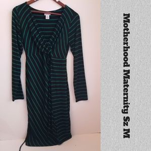 Motherhood Maternity Stretchy Striped Dress M